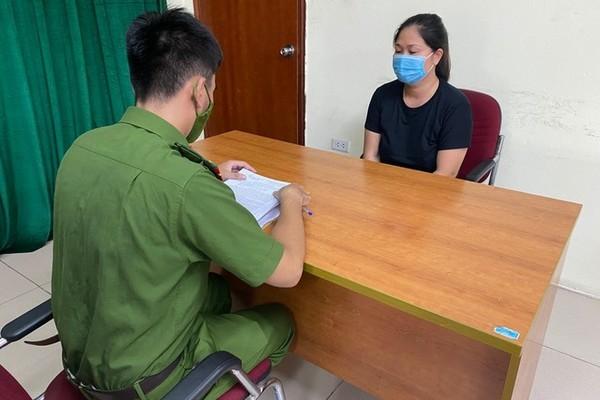 Nguyễn Thị Lợi tại cơ quan công an. Ảnh: Vietnamnet