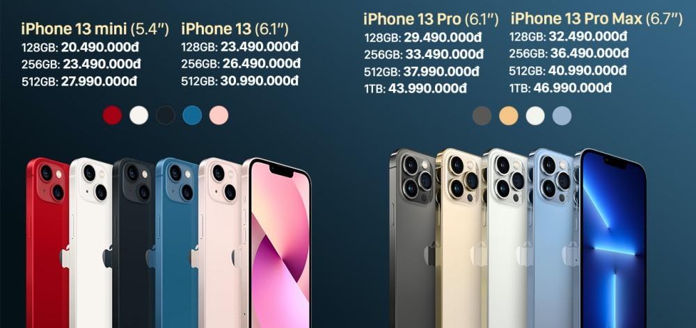Giá chính thức của iPhone 13 Series khi đặt hàng trước.