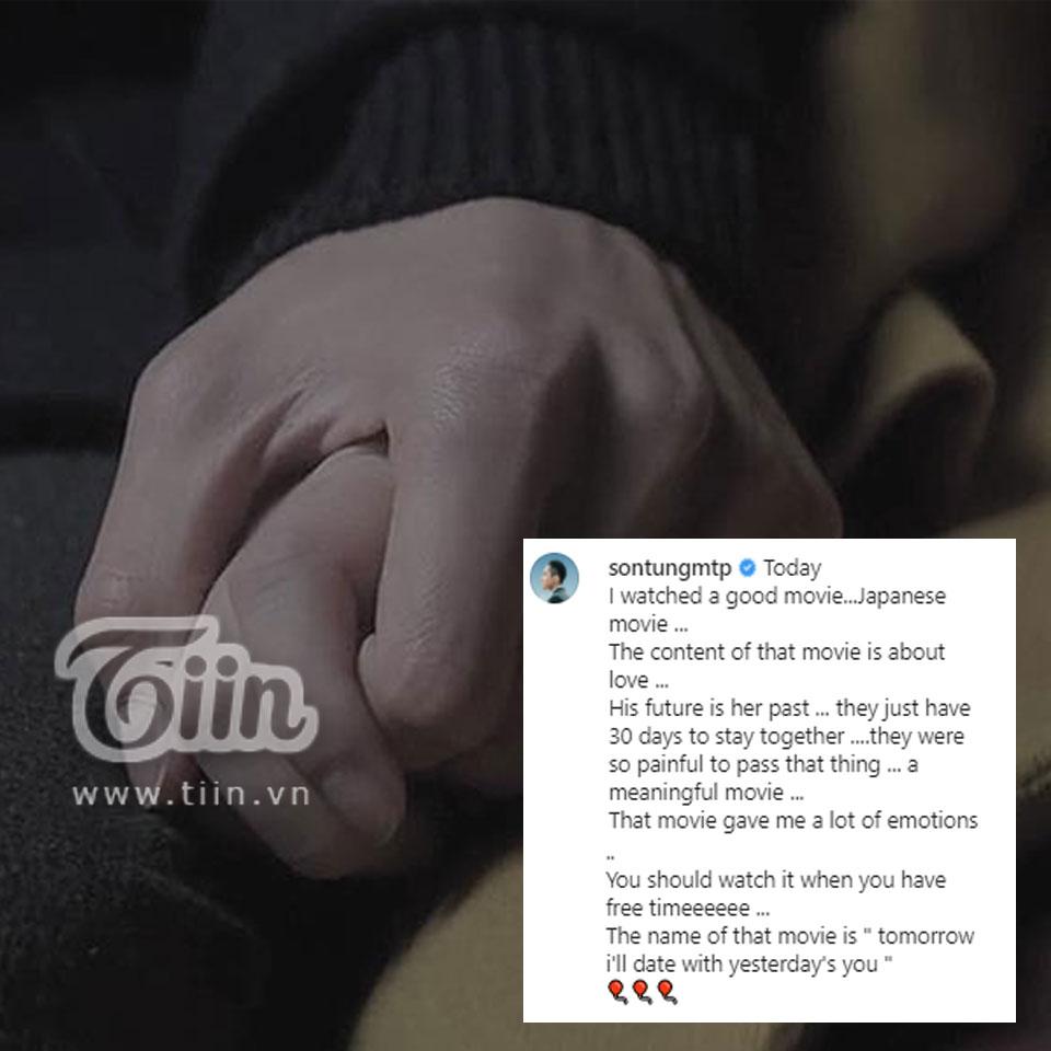 Khoảnh khắc hai người nắm tay được cắt từ bộ phim 'Tomorrow I'll Date With Yesterday's You'mà Sơn Tùng yêu thích được đăng vào năm 2017. Mới đây, netizen còn phát hiện ra và tranh cãi kịch liệt vìởkhoản Instagram phụ, Hải Tú có chia sẻ bức ảnh này, kèm theo đó là dòng trạng thái tiếng Nhật tạm dịch là 'Ngày mai tôi sẽ hẹn hò với em của ngày hôm qua'.