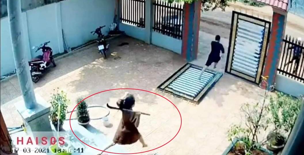 Mẹ bầu 5 tháng cầm rựa chạy ra đuổi trộm ứng cứu cho chồng.