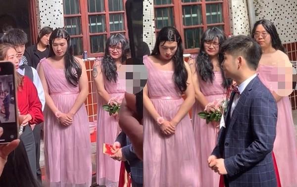 Hôn lễ đặc biệt có sự góp mặt củanhóm phù dâu gồm 3 nam giới.