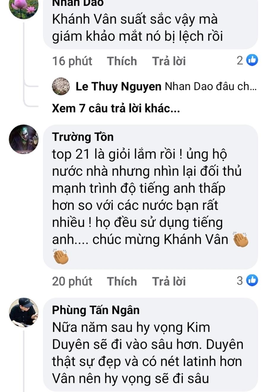 Những bình luận bày tỏ sự tiếc nuối dành cho Khánh Vân khi cô trượt Top 10 chung cuộc.