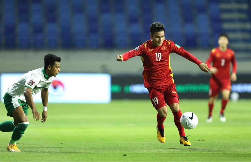 Chân sút Quang Hải ghi bàn thắng vang dội trong phút 62 trong trận gặp Indonesia đêm 7/6.