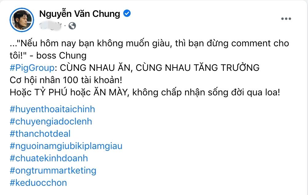 Nhạc sĩ Nguyễn Văn Chung bất ngờ hoá 'Boss Chung', cầm đầu 'PIG GROUP' để 'cà khịa' các 'chuyên gia tài chính 4.0' 0