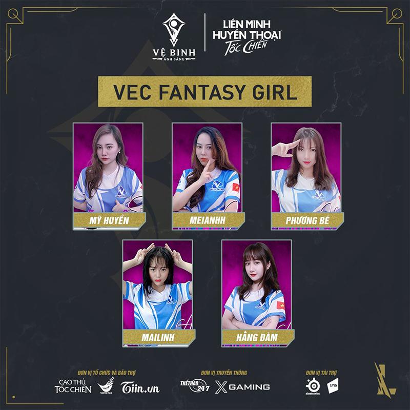 Đội hình của VEC Fantasy tại Vệ Binh Ánh Sáng