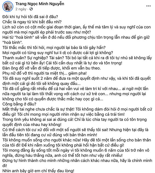 Lương Minh Trang từng có bài viết dài giải thích về chuyện ly hôn của mình