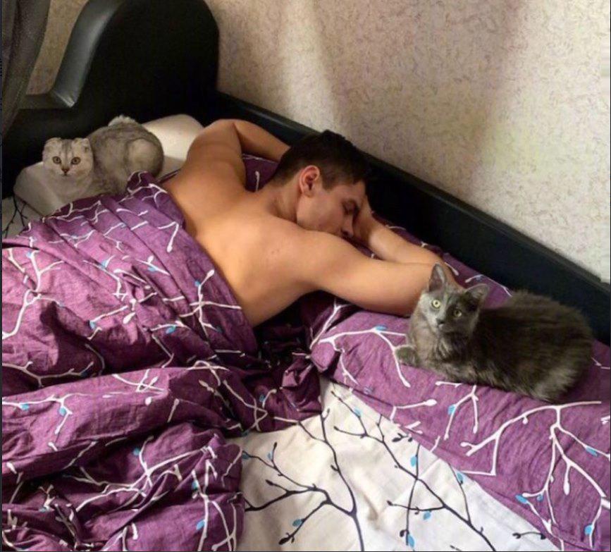Chàng kình ngư sinh năm 1996 rất yêu thích mèo.