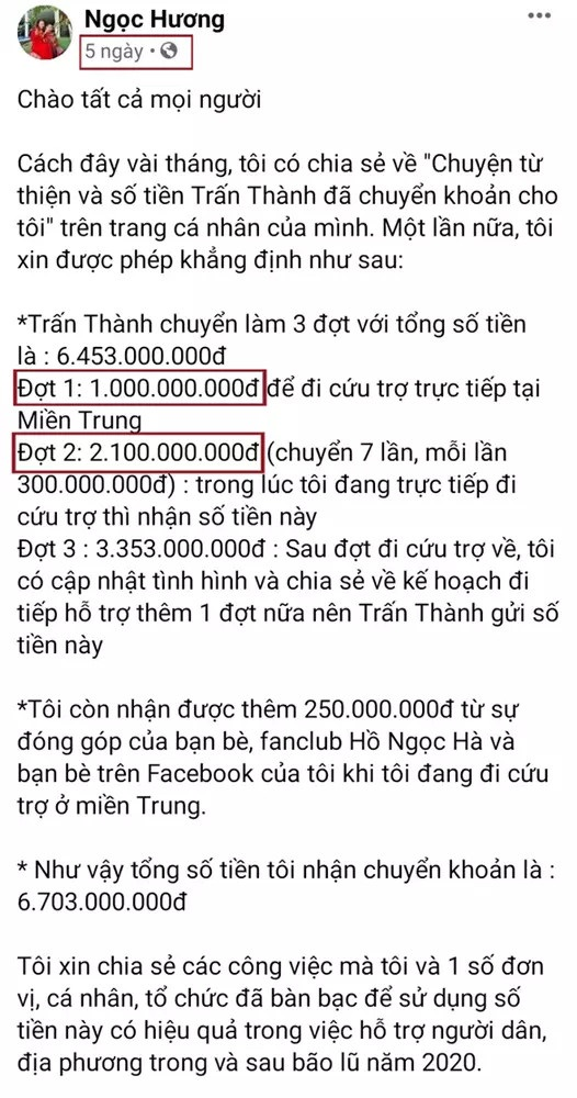 Tuy nhiên trong bài đăng mới đâysau khi Trấn Thành tung sao kê, số tiền này đã được thay đổi thành 2,1 tỷ đồng.