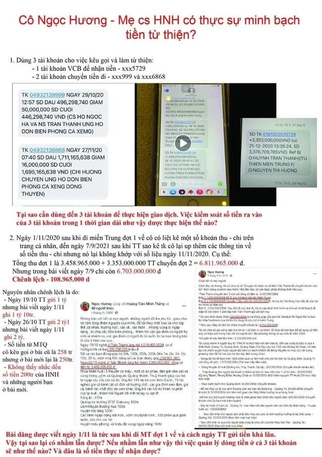 Dân mạng chỉ ra những điểm nghi vấn khi mẹ Hồ Ngọc Hà dùng 3 số tài khoản khác nhau để thực hiện việc nhận - chuyển tiền từ thiện.