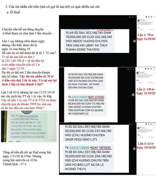 Các tin nhắn sao kê bị netizen chỉ racó nhiều sai sót.