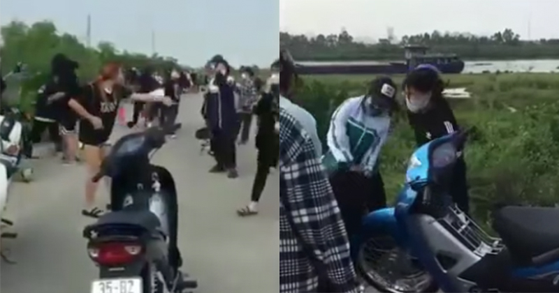 Hình ảnh hai nhóm nữ sinh hỗn chiến trên bờ đê gây xôn xao dư luận
