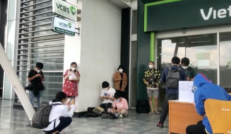 Hình ảnh trước cửa ngân hàng nơi Thủy Tiên và Công Vinh sẽ livestream.