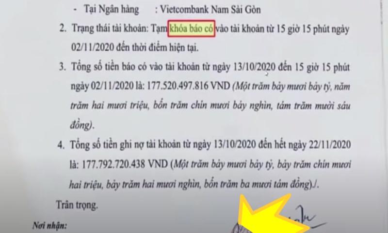 Công văn của ngân hàng gửi cho Thủy Tiên vừa qua.