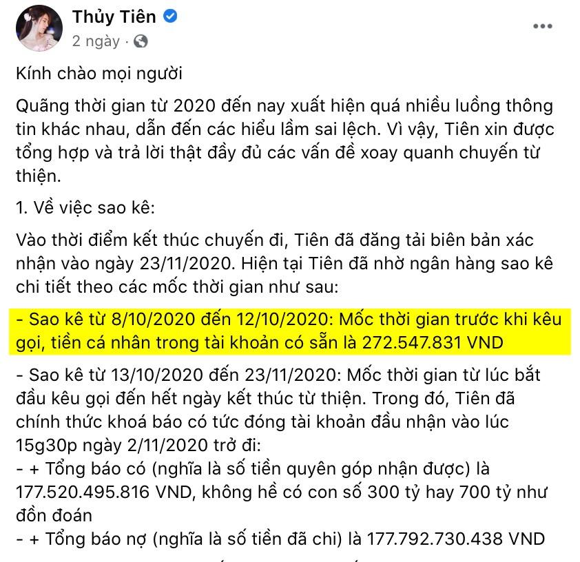Thủy Tiên khẳng định trước khi kêu gọi, tiền cá nhân trong tài khoản là hơn 272 triệu đồng.
