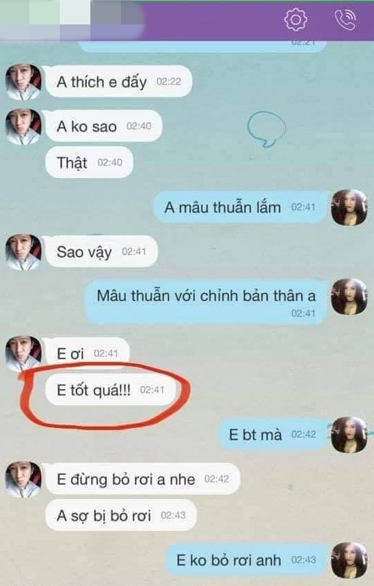 Tin nhắn cũ của Trường Giang và Quế Vân.