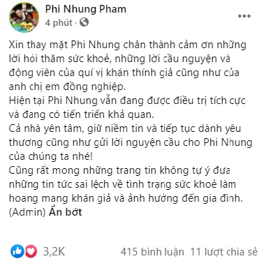 Chia sẻ mới nhất trên trang cá nhân của ca sĩ Phi Nhung.
