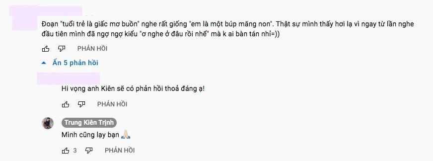 Bình luận của Kiên phản hồi về việc đạo nhạc.