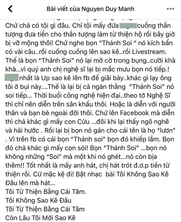 Bài đăng của ca sĩ Duy Mạnh.