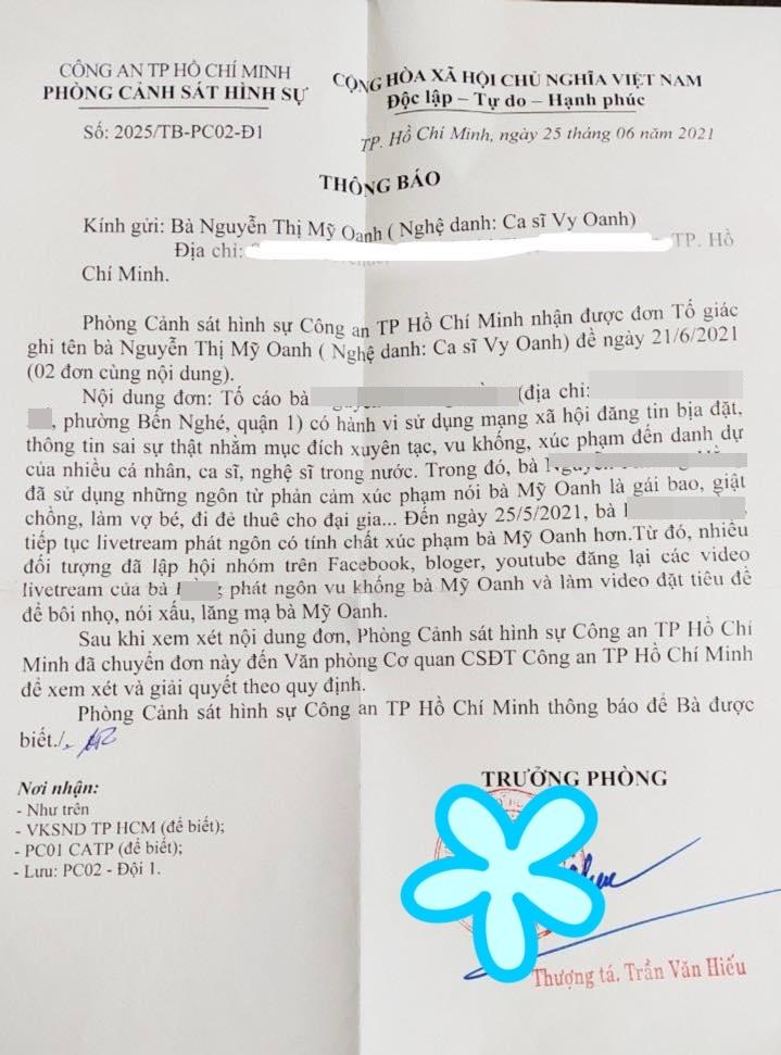 Cơ quan Cảnh sát điều tra Bộ Công an và Phòng Cảnh sát hình sự Công an TP.HCM thông báo thụ lý đơn tố cáo của Vy Oanh.