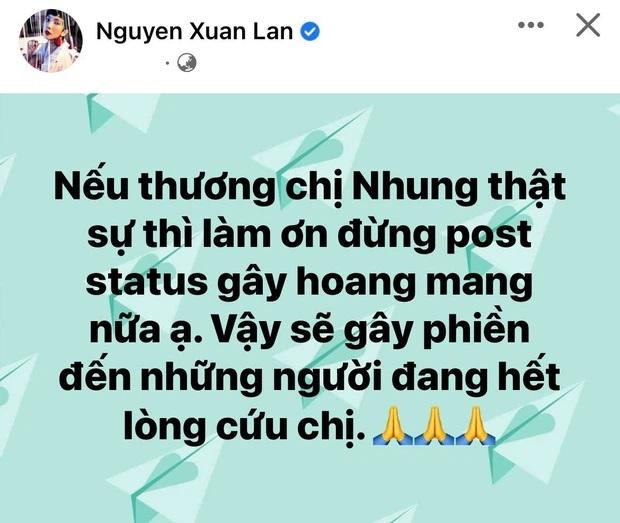 Xuân Lan cầu xin mọi người đừng post những thông tin gây hoang mang về sức khỏe ca sĩ Phi Nhung.