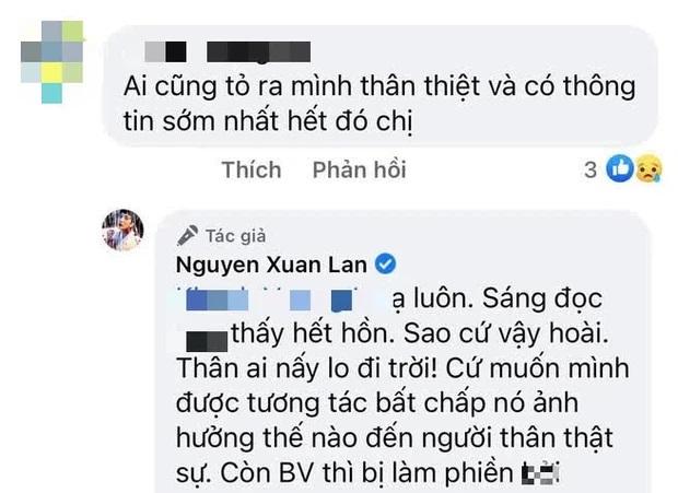 Cựu người mẫu tiết lộ, việc liên tiếpxuất hiện những thông tin không hay đã khiến gia đình và các ybác sĩ đangđiều trị cho Phi Nhung bị ảnh hưởng.