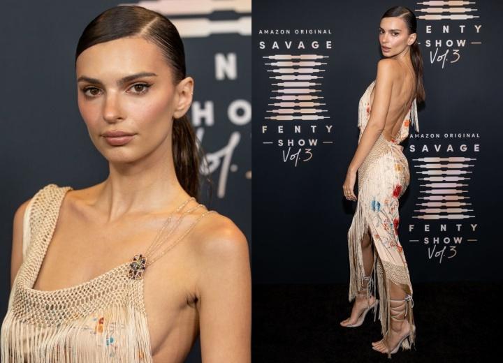 Chiếc váy Emily Ratajkowski chọn có vẻ hơi 'xu cà na' vì lạc quẻ hẳn với concept chung của show. Dẫu vậy, body của chân dài 9x vẫn 'vớt vát' lại không ít.