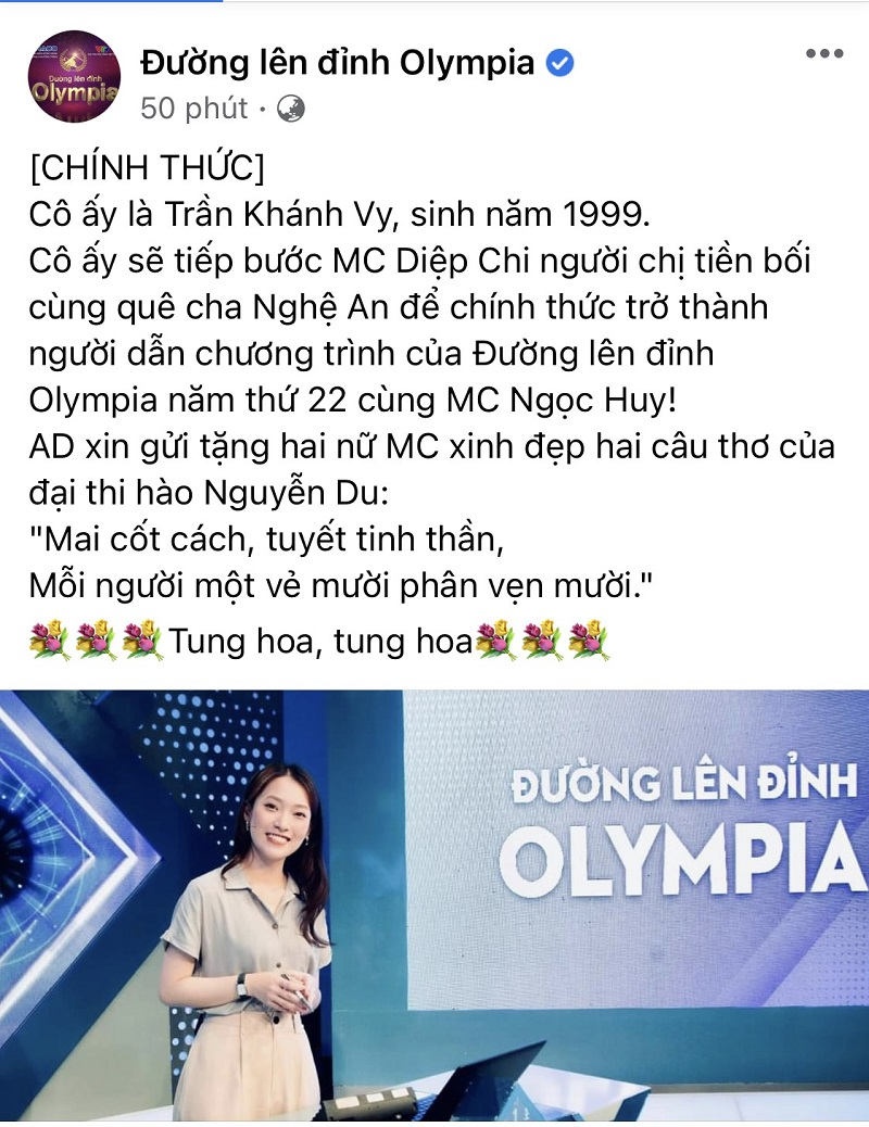 Khánh Vy sẽ đồng hành cùng MC Ngọc Huy trong chương trình Đường lên đỉnh Olympia trong năm thứ 22.