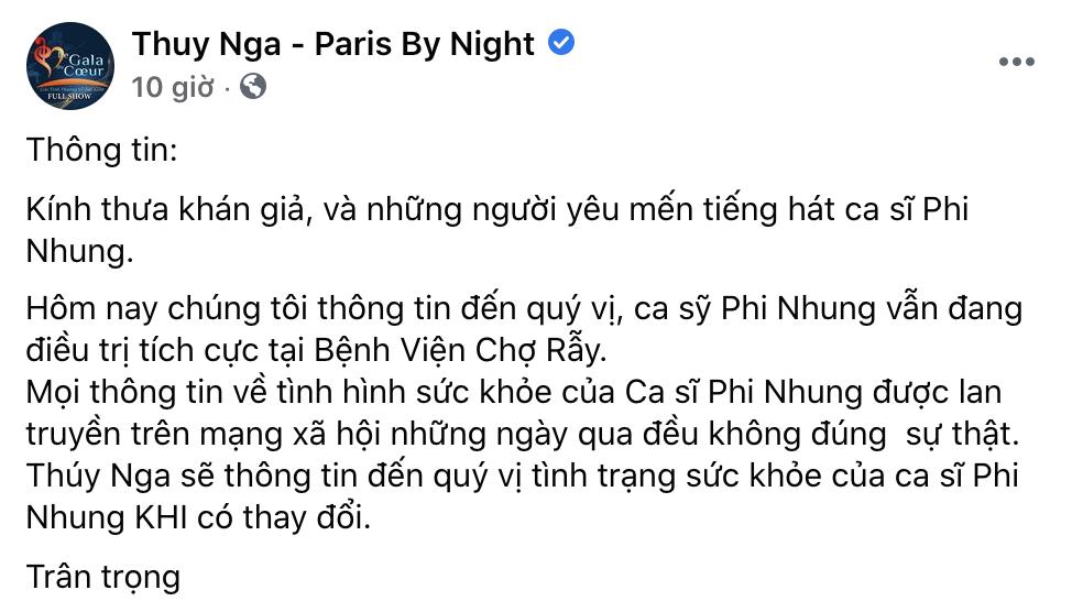 Trung tâm nơi Phi Nhung làm việc tại Mỹ khẳng định nữ ca sĩ vẫn đang điều trị tích cực tại bệnh viện Chợ Rẫy.