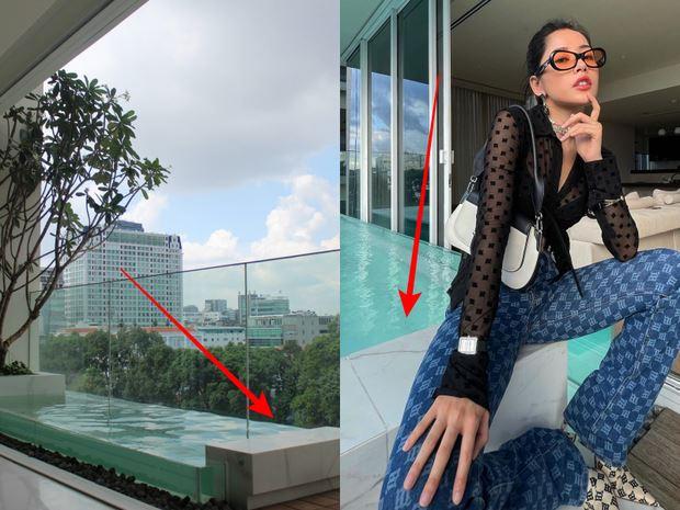 Bên phải là ảnh mặt bằng thô của căn hộ, bên trái là ảnh check-in của Chi Pu