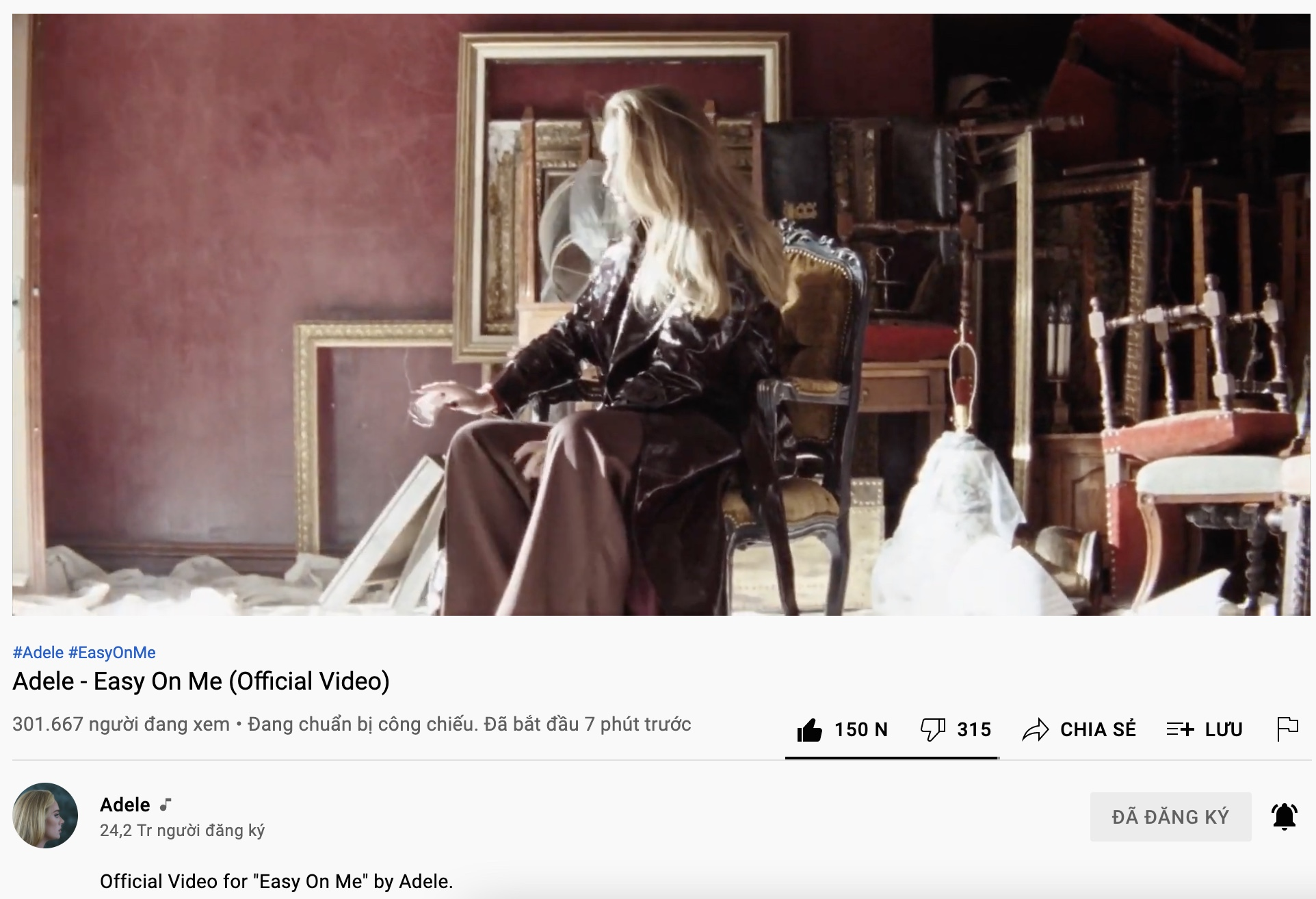 Lượng người xem công chiếu MV của Adele.