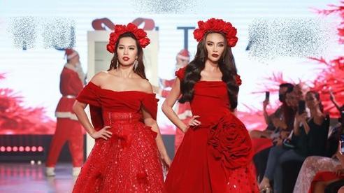 Hà Anh, Võ Hoàng Yến đọ trình catwalk khi cùng làm vedette trên một show thời trang