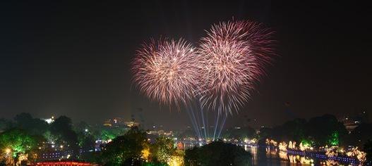 1 trận địa pháo hoa duy nhất tại Hà Nội phục vụ truyền hình trực tiếp đêm Giao thừa