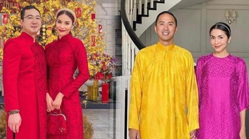 Vợ chồng Hà Tăng -Lan Khuê diện áo dài sắc màu rực rỡ trong ngày đầu năm