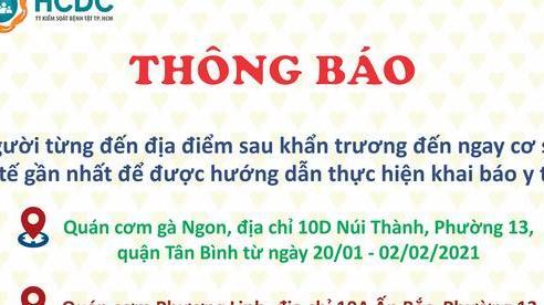 TP HCM: Khẩn trương truy tìm những người đến 2 quán cơm ở quận Tân Bình