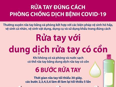 Rửa tay đúng cách với dung dịch có cồn phòng, chống COVID-19