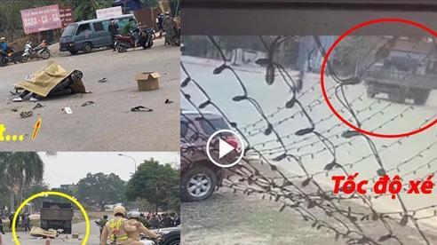 Clip: Chạy xe máy tốc độ 'bàn thờ', thanh niên ở Vĩnh Phúc đâm thẳng vào xe tải