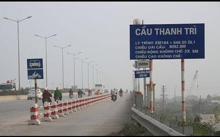 Từ 16/3, hạ tốc độ tối đa với ô tô lưu thông trên cầu Thanh Trì xuống 60km/h