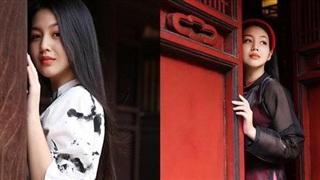 MC Hồng Nhung duyên dáng trong áo dài cách tân