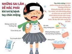 [Infographics] Những sai lầm dễ mắc phải khi trẻ bị tay chân miệng