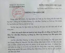 Phó Cục trưởng Cục Hải quan tỉnh An Giang bị kỷ luật khiển trách