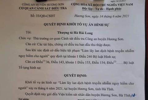 Nghệ An, Hà Tĩnh khởi tố 2 vụ án hình sự do khai báo gian dối làm lây lan Covid-19