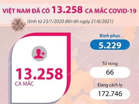 [Infographics] Việt Nam đã có gần 13.260 ca mắc COVID-19