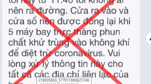 TP HCM bác bỏ tin đồn thất thiệt '5 máy bay trực thăng phun khử khuẩn vào tối nay'