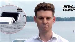 Xe bán tải chìm nghỉm xuống hồ ngay trên sóng truyền hình trực tiếp