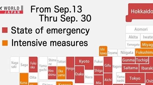 Nhật Bản dỡ bỏ hoàn toàn tình trạng khẩn cấp vào cuối tháng 9
