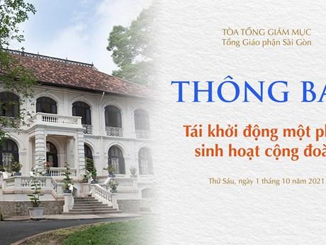 Tòa Tổng Giám mục Sài Gòn tái khởi động một phần sinh hoạt cộng đoàn