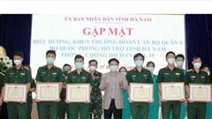 Hà Nam biểu dương đoàn cán bộ quân đội hỗ trợ tỉnh chống dịch