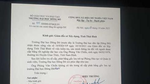 Viện trưởng Quy hoạch xây dựng Thái Bình chưa tốt nghiệp ĐH Đông Đô
