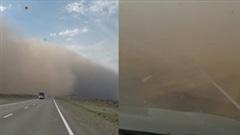 Bức tường cát khổng lồ 'nuốt chửng' ô tô trên đường cao tốc ở Nga