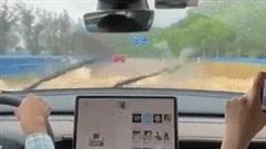 Xe điện Tesla lội nước phăng phăng trên đường ngập
